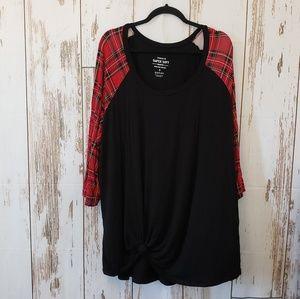 TORRID Super Soft Black Knit Top Plaid Sleeves